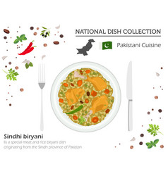 pakistani cuisine asian national dish collection vector image