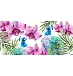 peacock and orchid flowers watercolor summer vector image