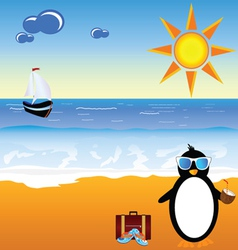 Penguin with coconut milk on the paradise beach vector