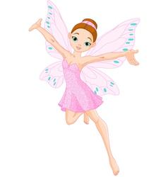 Pink fairy in flight vector