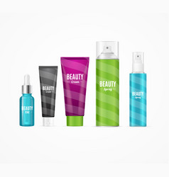 realistic beauty template bottles set vector image vector image