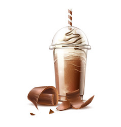 realistic frappe coffee cream and chocolate vector image