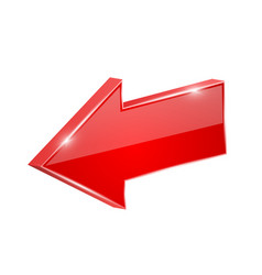 Red shiny arrow backwards 3d vector