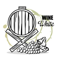 red wine barrel and grapes vector image
