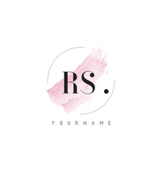 rs watercolor letter logo design with circular vector image