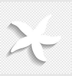 Sea star sign white icon with soft shadow vector
