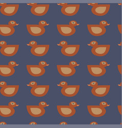 Seamless orange duck pattern on blue vector
