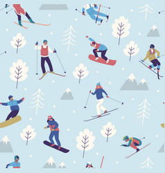 seamless pattern winter sports snowboarders vector image