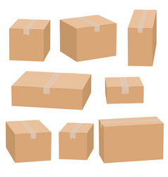 set of cardboard boxes isolated vector image
