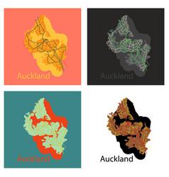 Set of map - auckland new zealand - flat vector