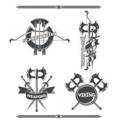 set vikings emblems vector image
