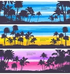set vintage summer banners vector image