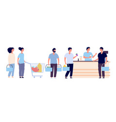 shopping queue people with shopping card waiting vector image