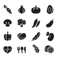 silhouette vegetable icons vector image