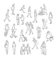sketch walking people urban residents vector image