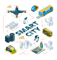 smart city 3d urban future technologies smart vector image
