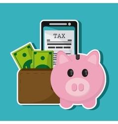Smartphone document piggy wallet bill icon vector