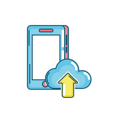 smartphone technology with cloud data icon vector image