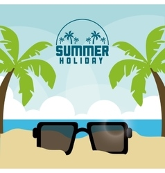 Summer design palm tree and glasses icon vector