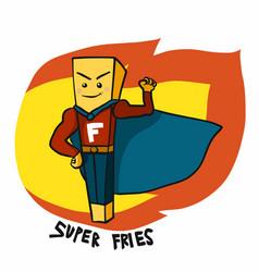 super fries hero on fire cartoon logo vector image