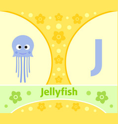 the english alphabet with jellyfish vector image
