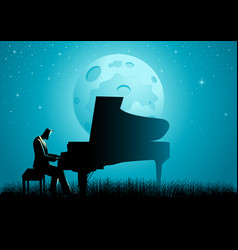 the pianist during full moon vector image