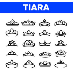 tiara royal accessory thin line icons set vector image