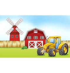 Tractor in farmyard vector