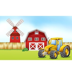 Tractor in the farmyard vector