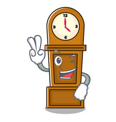 Two finger grandfather clock character cartoon vector