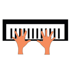 two hands on a piano key board on white background vector image