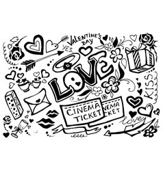 valentines day doodle set vector image