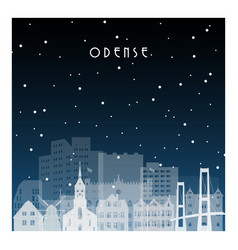 winter night in odense night city in flat style vector image