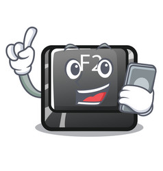 with phone button f2 in shape character vector image
