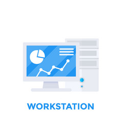 workstation computer vector image