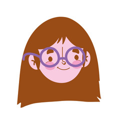 young woman with glasses face character isolated vector image