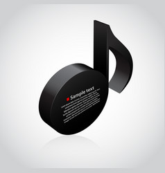 black musical note 3d vector image