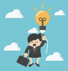 business woman with a success balloon idea vector image