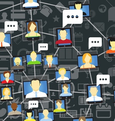 Global social network with talking people vector image