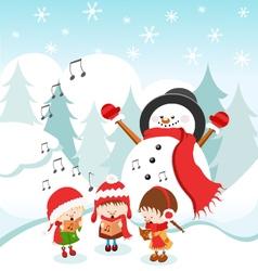 Kids Singing Christmas Carol vector image vector image