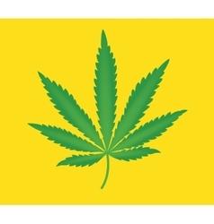 marijuana leaf isolated with yellow background vector image