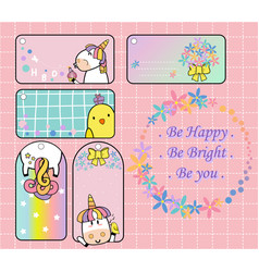 cute unicorn and yellow bird gift tag set will mak vector image