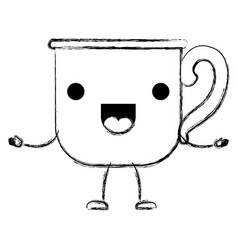 glass mug of coffee with handle cartoon monochrome vector image