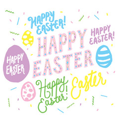 Happy easter lettering overlay graphics vector