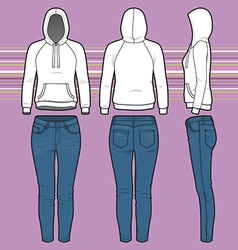 Hoodi and jeans set vector image vector image