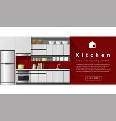Interior design Modern kitchen background 1 vector image
