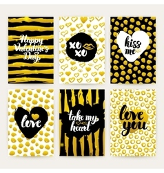 Valentine Day Gold Trendy Brochures vector image vector image
