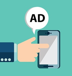 Advertising concept hand holding smartphone with vector image