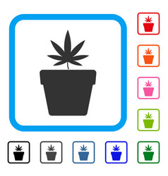 cannabis pot framed icon vector image vector image