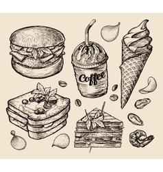 fast food hand drawn hamburger burger coffee vector image vector image